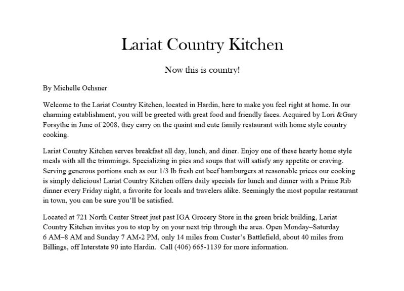 Lariat County Kitchen Ad